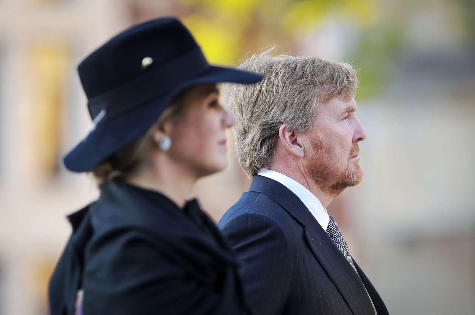 Netherlands' Queen Maxima and King Willem-Alexander pay their respects during a wreath-laying ceremony on Dam Square to commemorate National Remembrance Day, which will take place without an audience due to the spread of the COVID-19 disease, Amsterdam, the Netherlands, May 4, 2020. (AFP Photo)