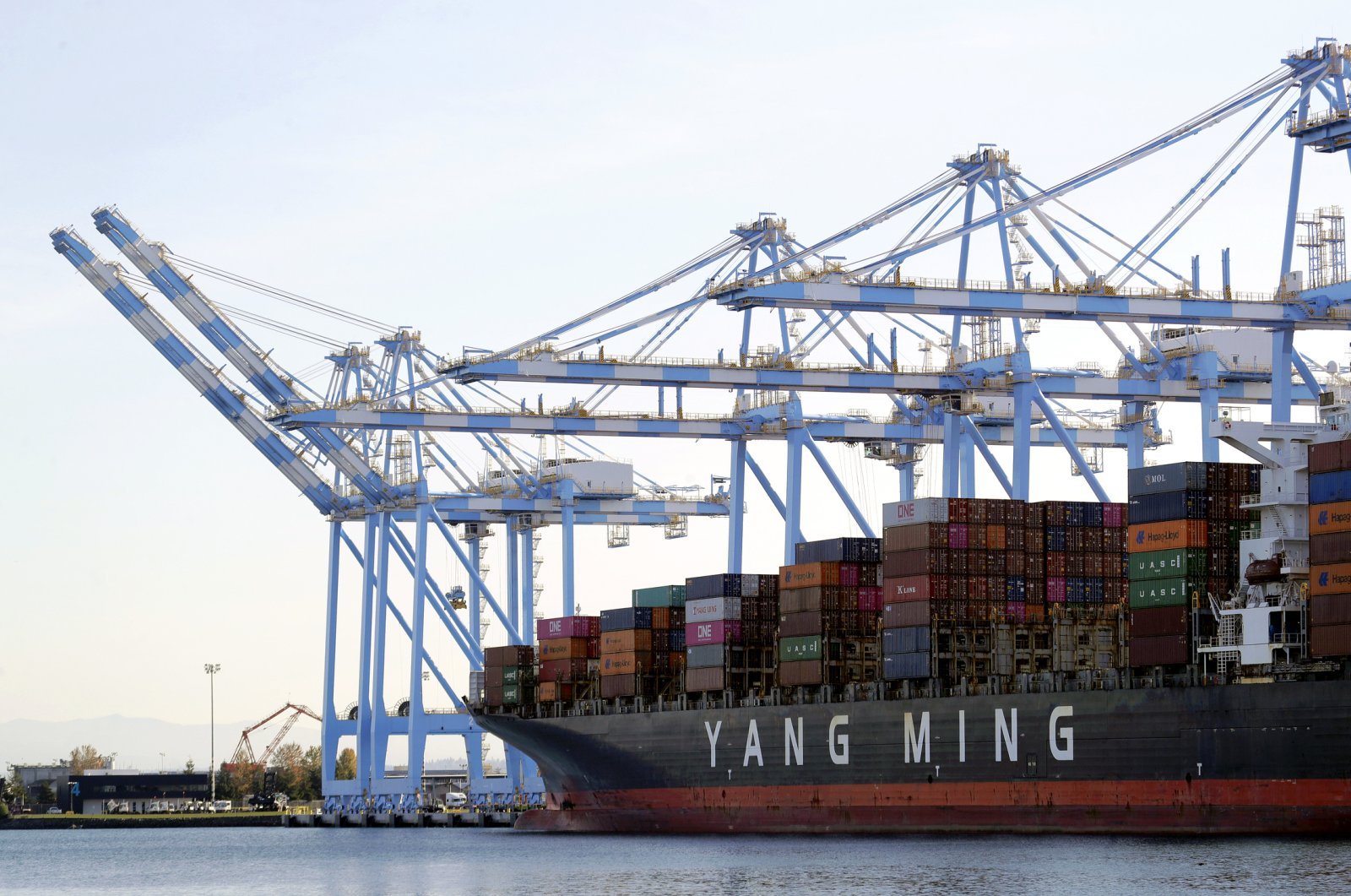 Cargo cranes are used to take containers off of a Yang Ming Marine Transport Corporation boat at the Port of Tacoma in Tacoma, Washington, Nov. 4, 2019. (AP Photo)