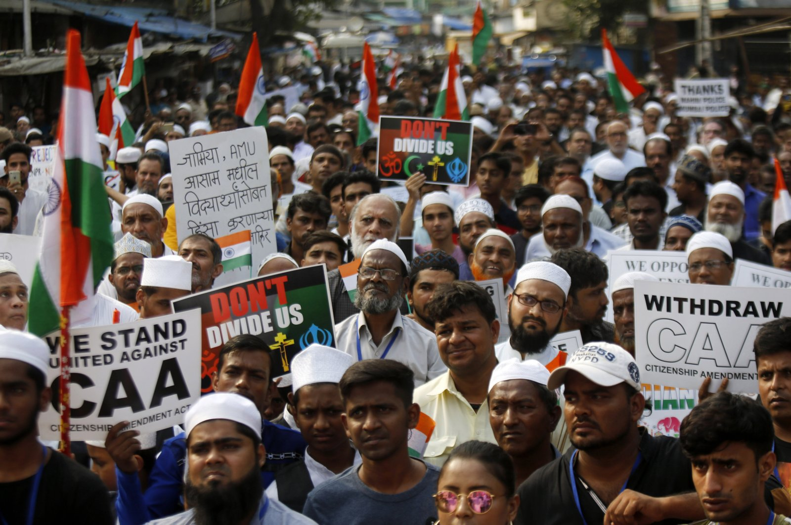 People participate in a protest rally against the Citizen Amendment Act in Mumbai, India, Dec. 28, 2019. (AP Photo)
