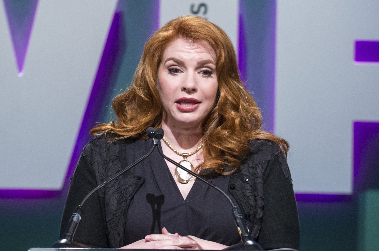 "Stephenie Meyer, author of the ""Twilight"" series, speaking at the Women in Film 2015 Crystal And Lucy Awards in Los Angeles, June 16, 2015. (AP Photo)"