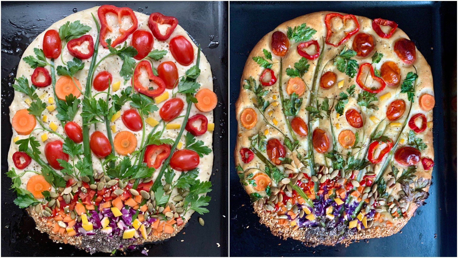 Before and after, focaccia garden No. 2. (Photo by Mindy Yartaşı)