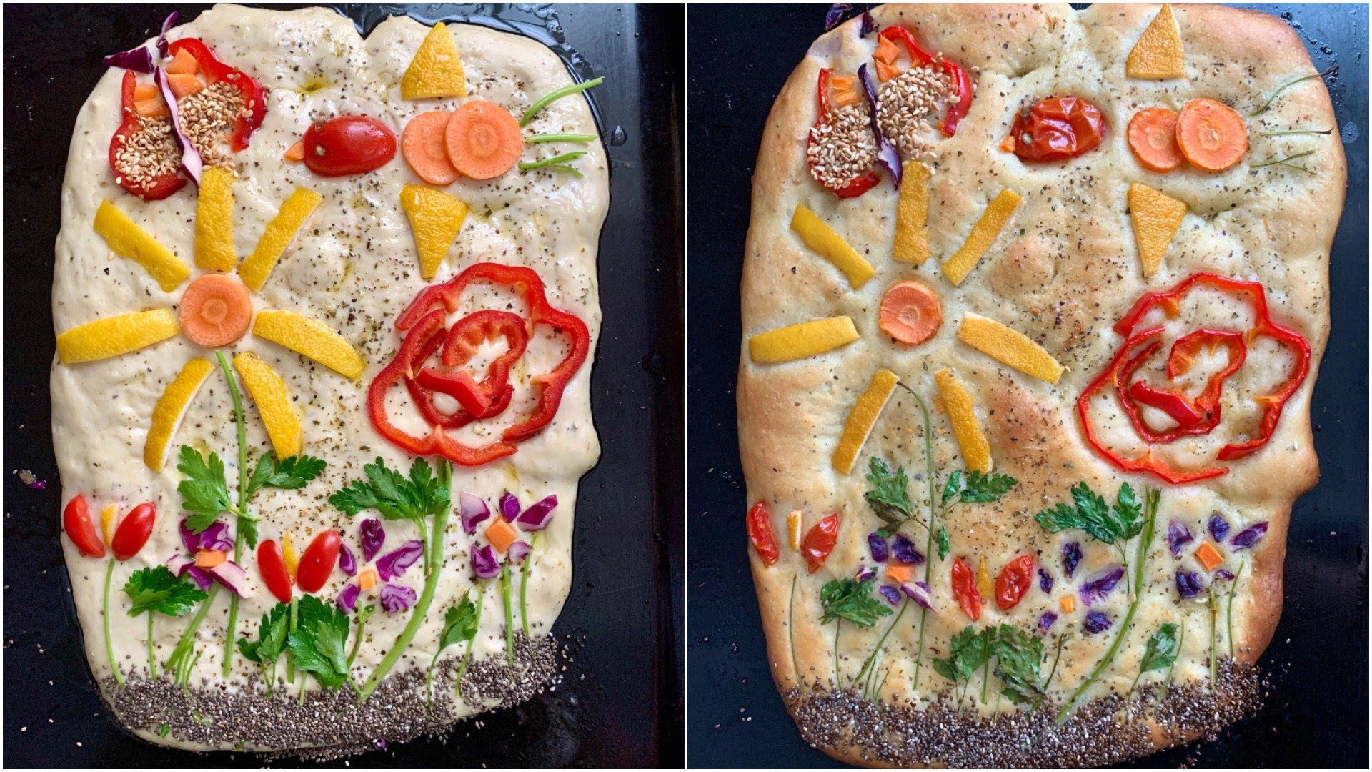 Before and after, focaccia garden No. 1. (Photo by Mindy Yartaşı)