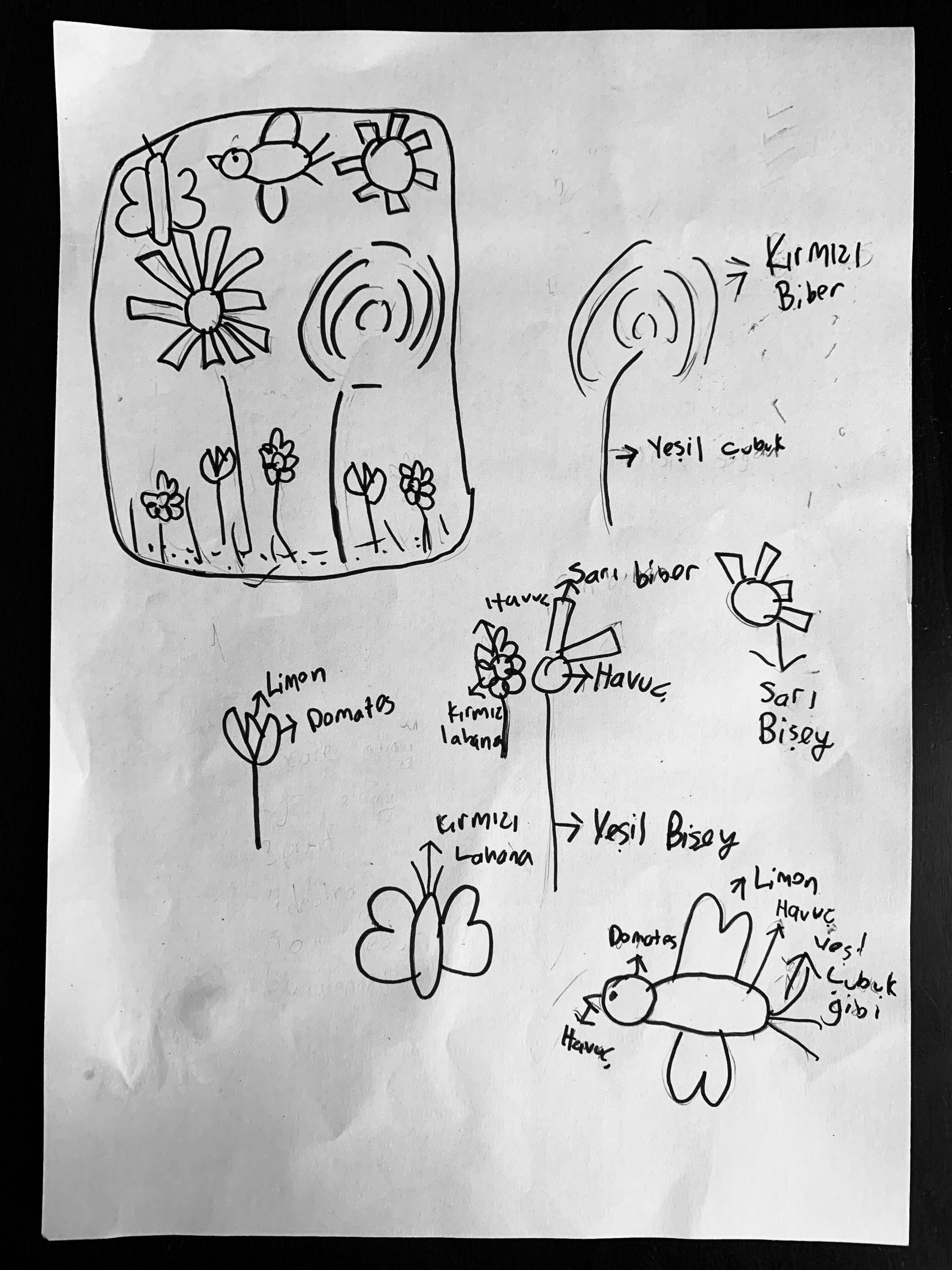A sketch by Mindy's daughter Meryem. Doing sketches of the designs can be fun for kids. (Photo by Mindy Yartaşı)