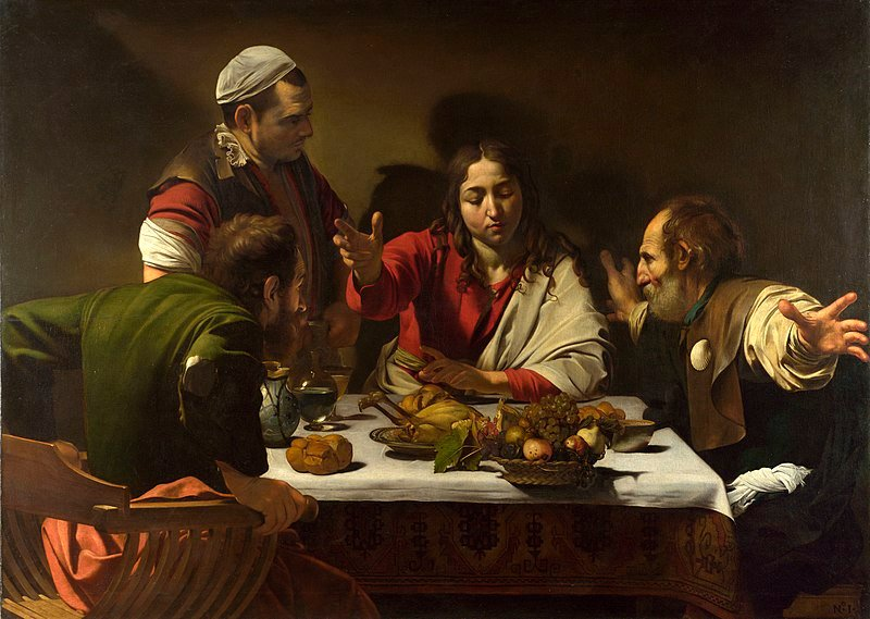 The original 'Supper at Emmaus' painting by Michelangelo Merisi da Caravaggio.