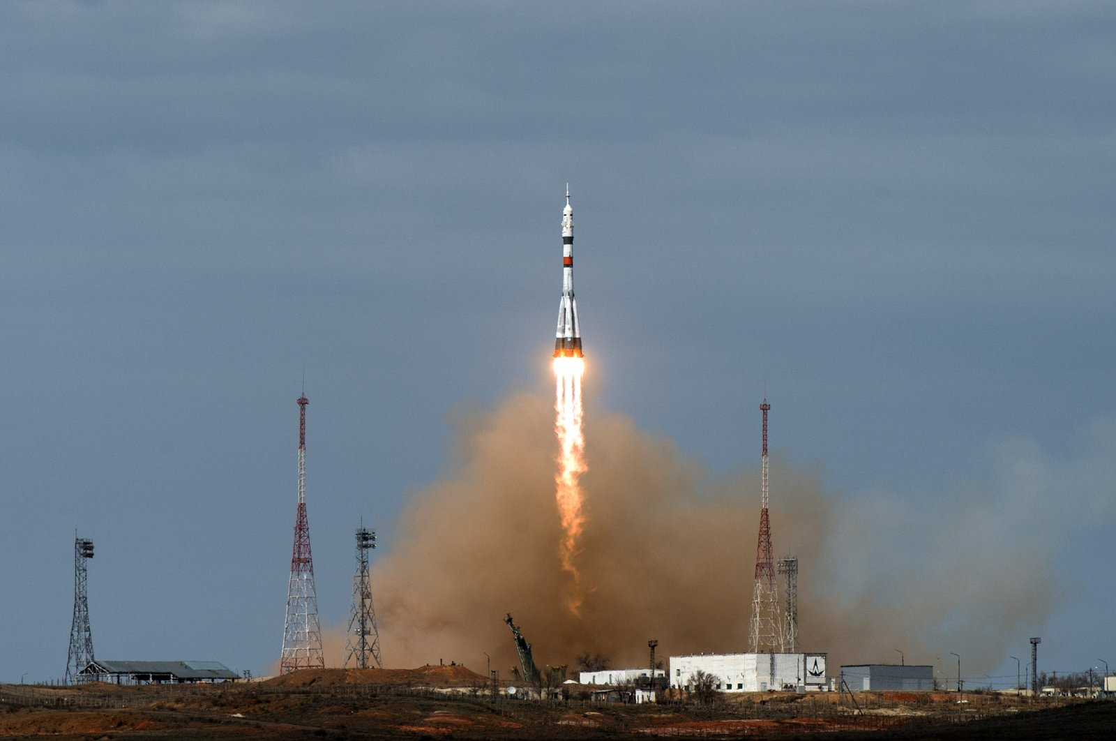 The Soyuz MS-16 spacecraft carrying the crew formed of Chris Cassidy of NASA, Anatoly Ivanishin and Ivan Vagner of the Russian space agency Roscosmos blasts off to the International Space Station (ISS) from the launchpad at the Baikonur Cosmodrome, Kazakhstan April 9, 2020. (Reuters Photo)
