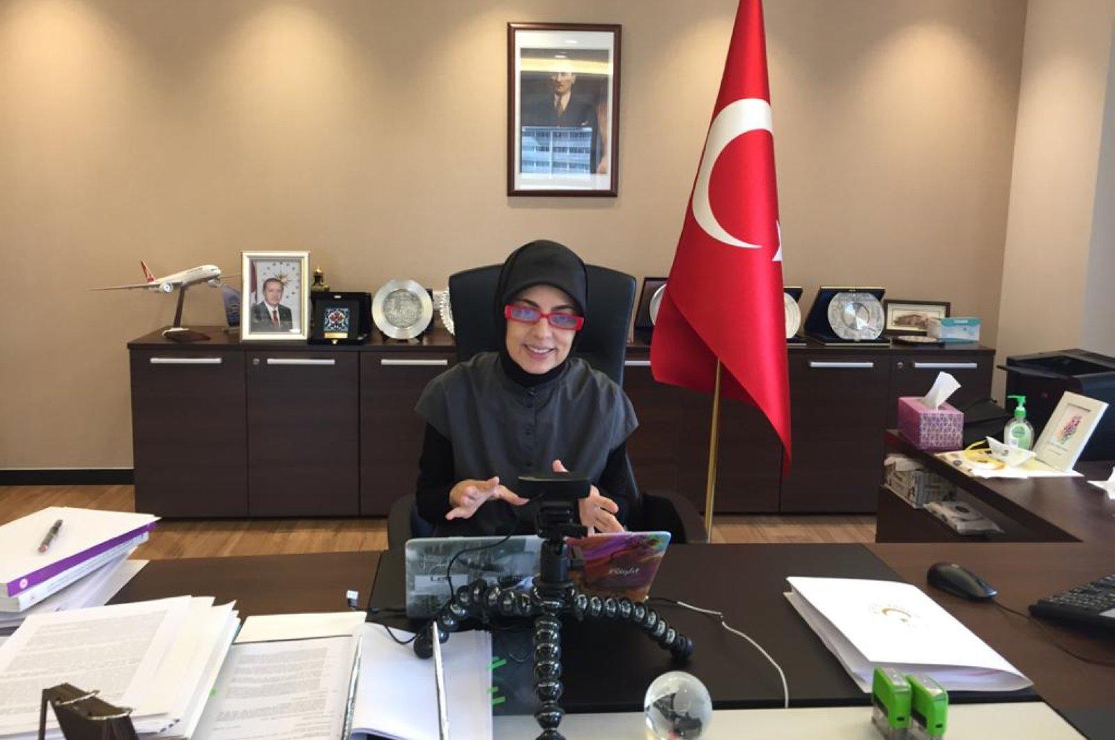 Turkey's envoy to Malaysia Merve Safa Kavakçı explains Ankara's role in combatting COVID-19 to the Malaysian media, May 5, 2020. (AA Photo)