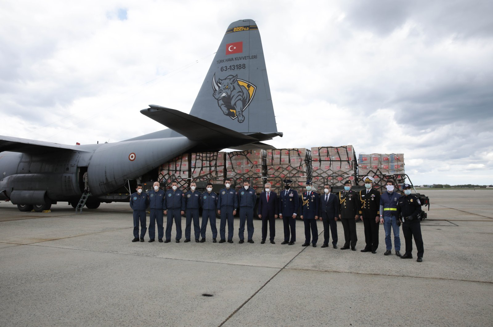 A Turkish military cargo plane with medical supplies and protective equipment to combat COVID-19 in the US unloads at Andrews Air Force Base, in Maryland, April 28, 2020. (AFP)
