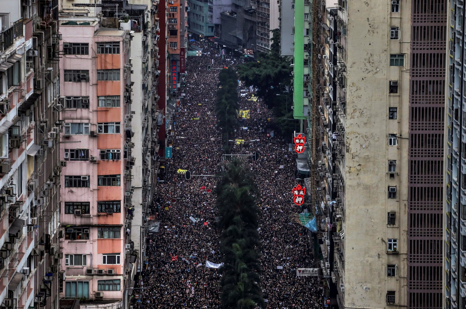 Hundreds of thousands protesters march through the streets of Hong Kong, China, June 16, 2019. (Reuters Photo)