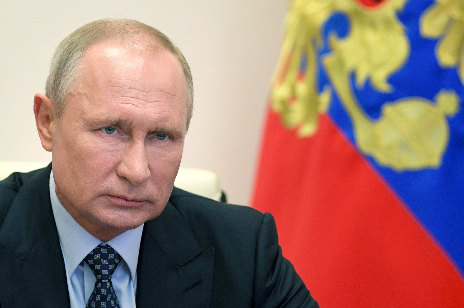 Russian President Vladimir Putin takes part in a meeting on development of the Russian fuel and energy industry via a video conference at the Novo-Ogaryovo residence outside Moscow, Russia, Wednesday, April 29, 2020. (AP Photo)