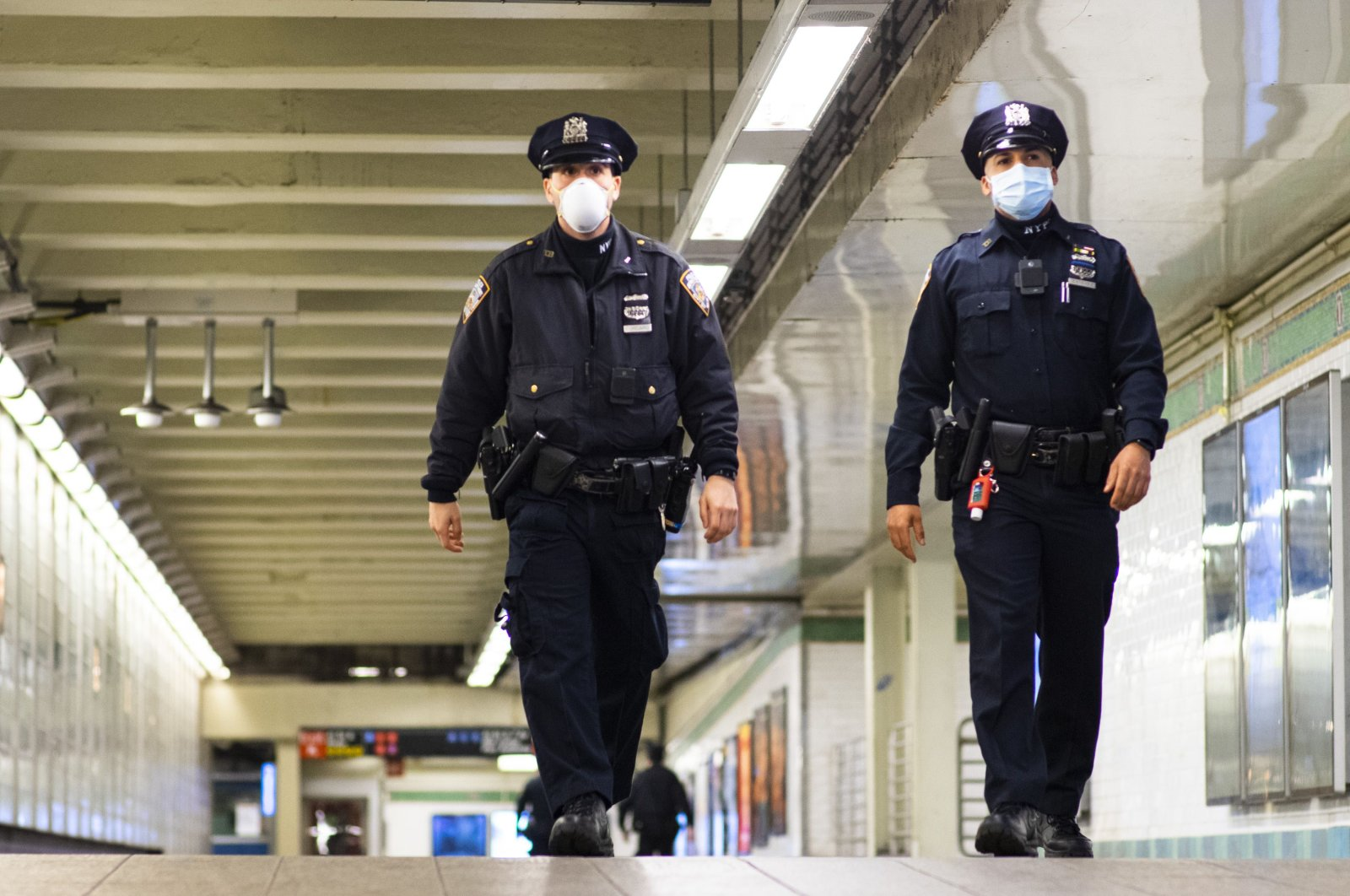 New York Police Department (NYPD) officers patrol inside Times Square station, New York City, New York, U.S., May 6, 2020. (AFP Photo)