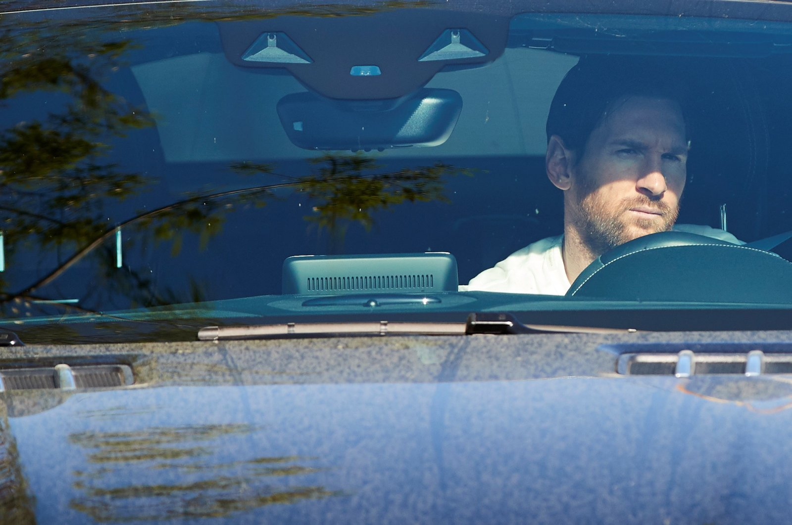 Barcelona's Argentine captain Lionel Messi arrives at the Joan Gamper Sports Complex in Barcelona, May 6, 2020. (EPA Photo)