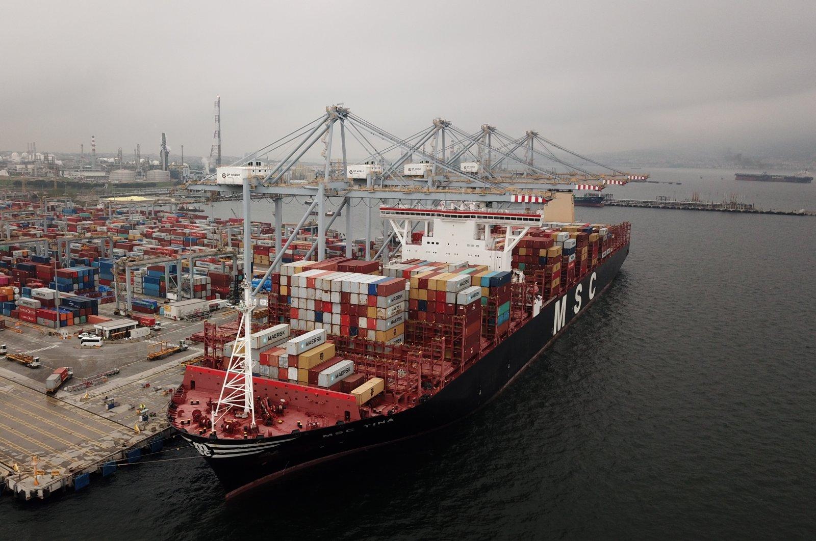 The 2M consortium's MSC Tina in DP World Yarımca Port, northwestern Kocaeli province, Turkey, May 6, 2020. (AA Photo)