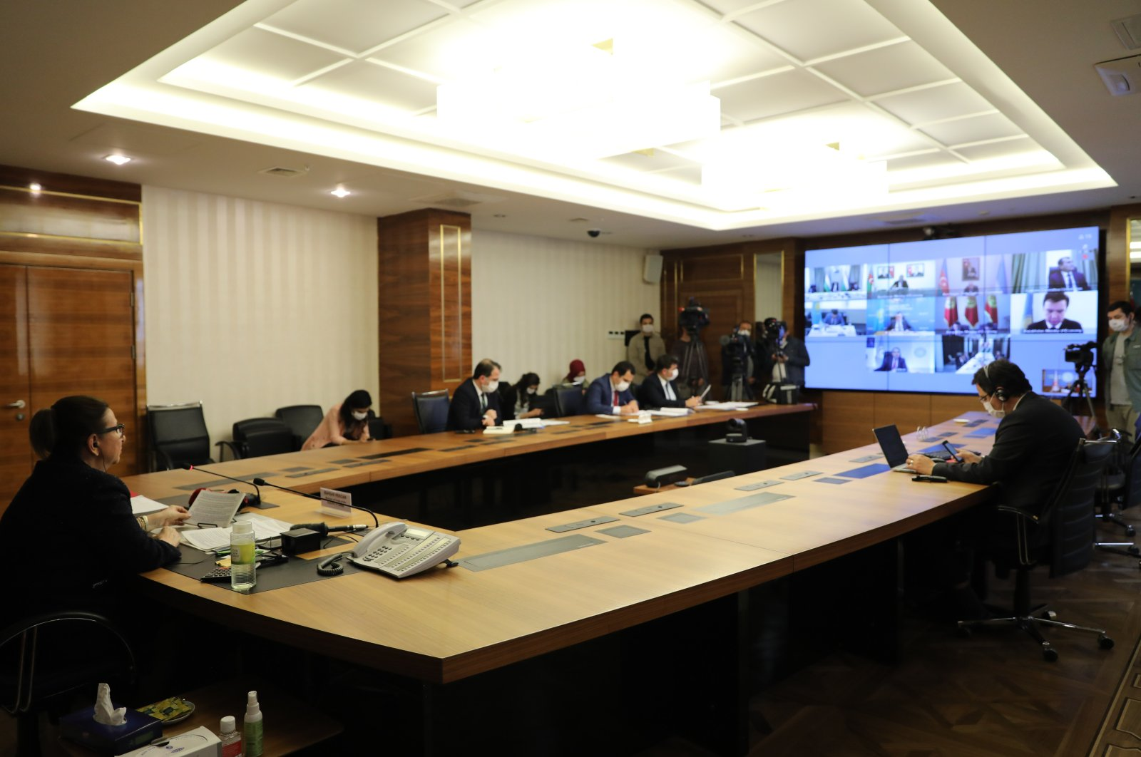 Trade Minister Pekcan during the videoconference with Turkic States in Ankara, 06.05.2020 (AA Photo)