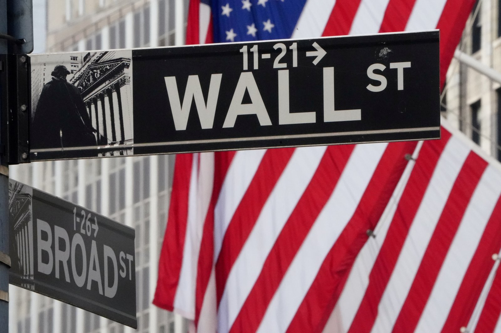 The Wall Street sign is pictured at the New York Stock exchange (NYSE) in the Manhattan borough of New York City, New York, U.S., March 9, 2020. (Reuters Photo)