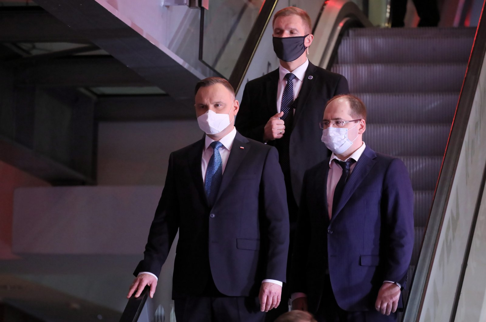 Polish President Andrzej Duda (L) after the debate of all presidential candidates in the Polish Television studio in Warsaw, May 6, 2020. (EPA Photo)