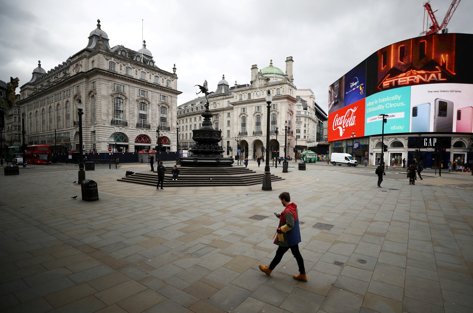 A general view in a deserted Piccadilly Circus as the spread of the coronavirus disease continues, London, Britain, March 20, 2020. (Reuters Photo)
