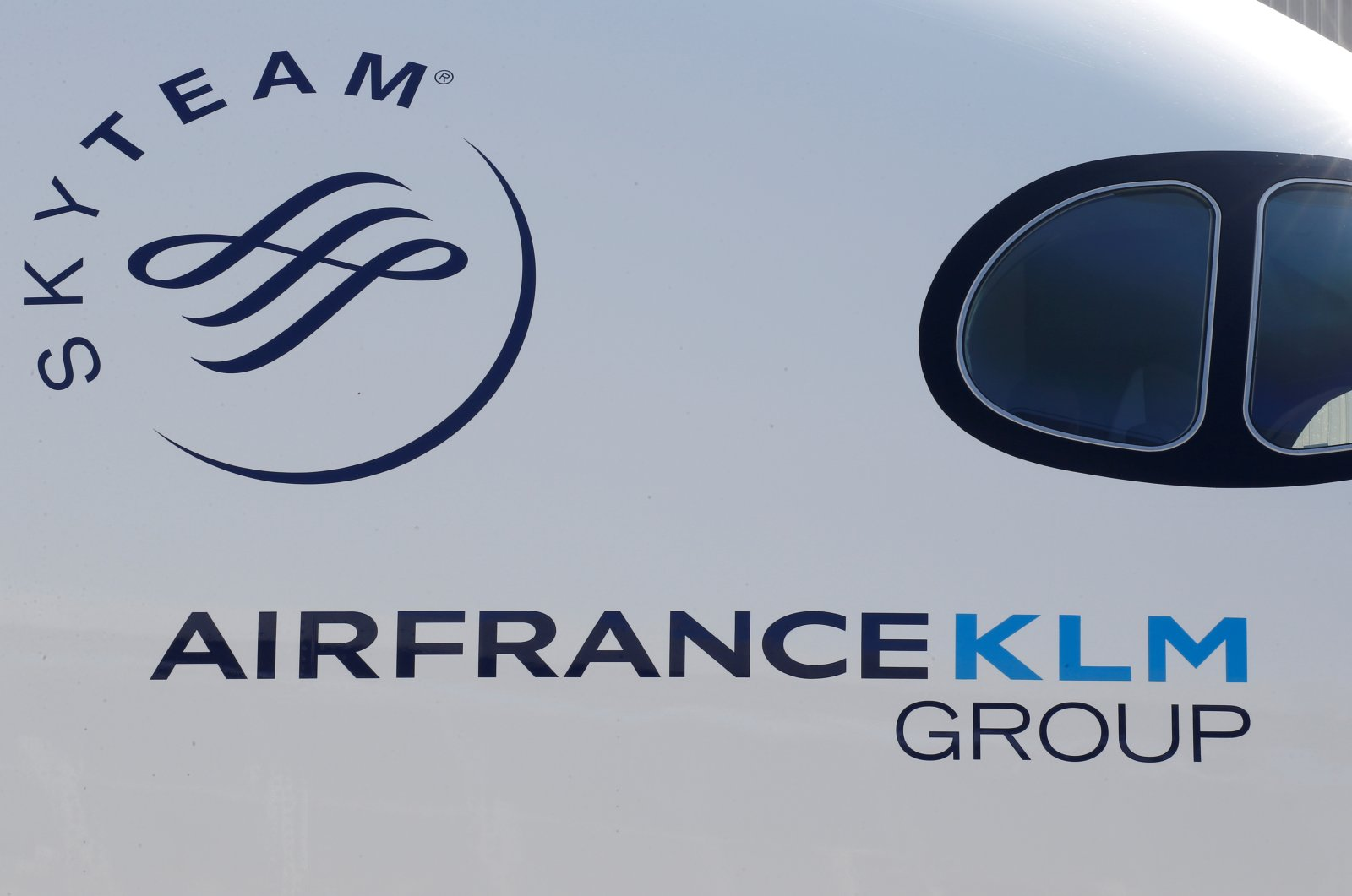 The logo of Air France-KLM Group is pictured on an Airbus A350 in Colomiers near Toulouse, France, Sept. 27, 2019. (Reuters Photo)