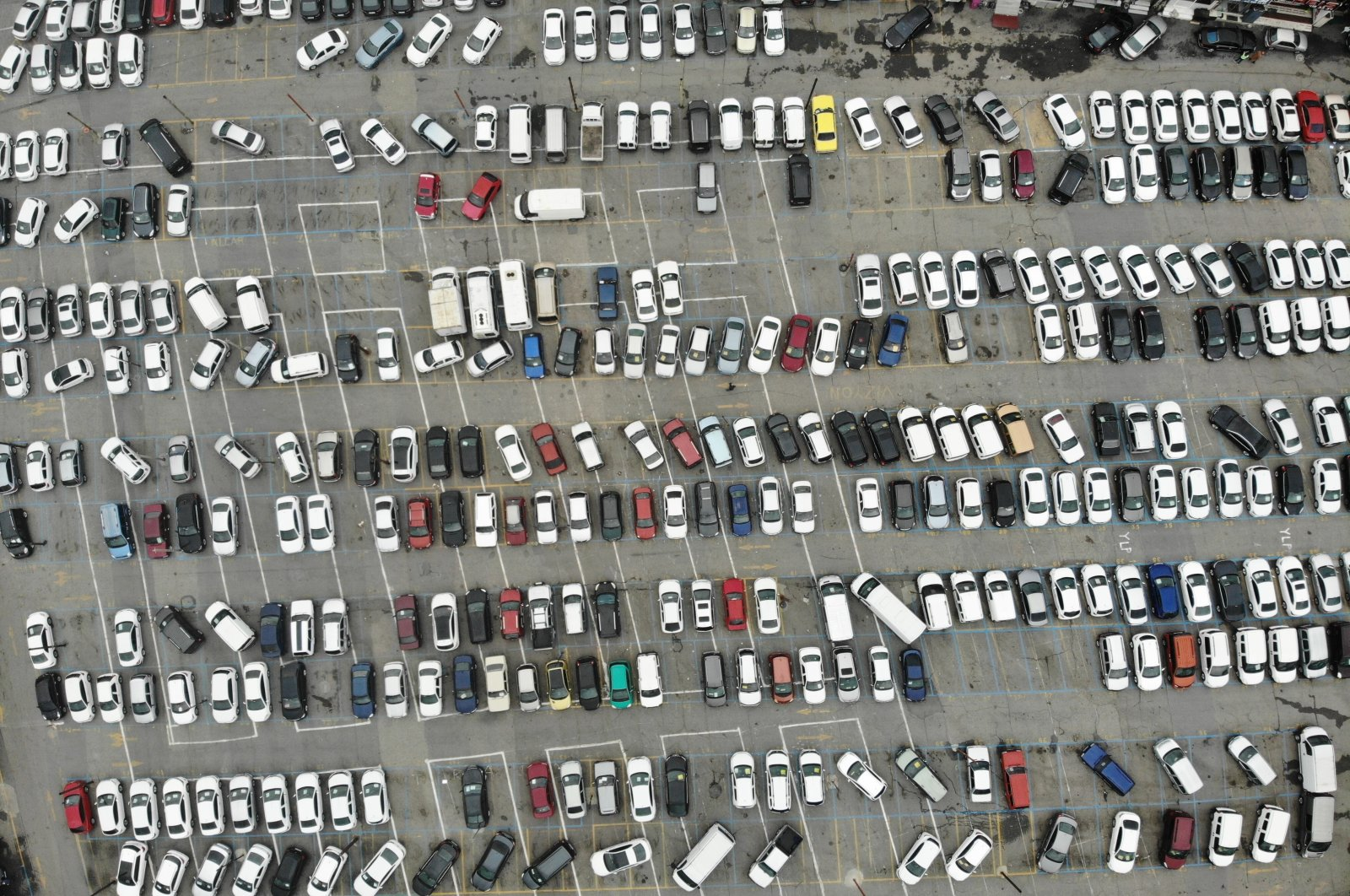 Cars for sale are seen in a parking lot in this undated photo. (İHA Photo)