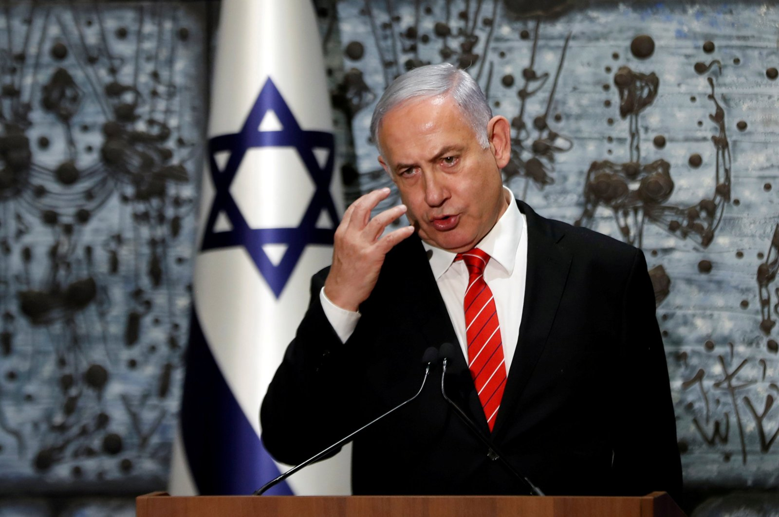 Israeli Prime Minister Benjamin Netanyahu speaks during a nomination ceremony, Jerusalem, Sept. 25, 2019. (REUTERS Photo)