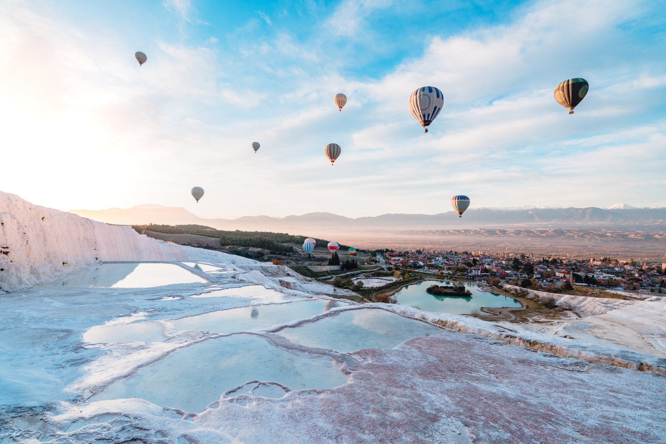 Hot air balloons are a great way to see the limestone terraces and ruins of the ancient city. (iStock Photo)