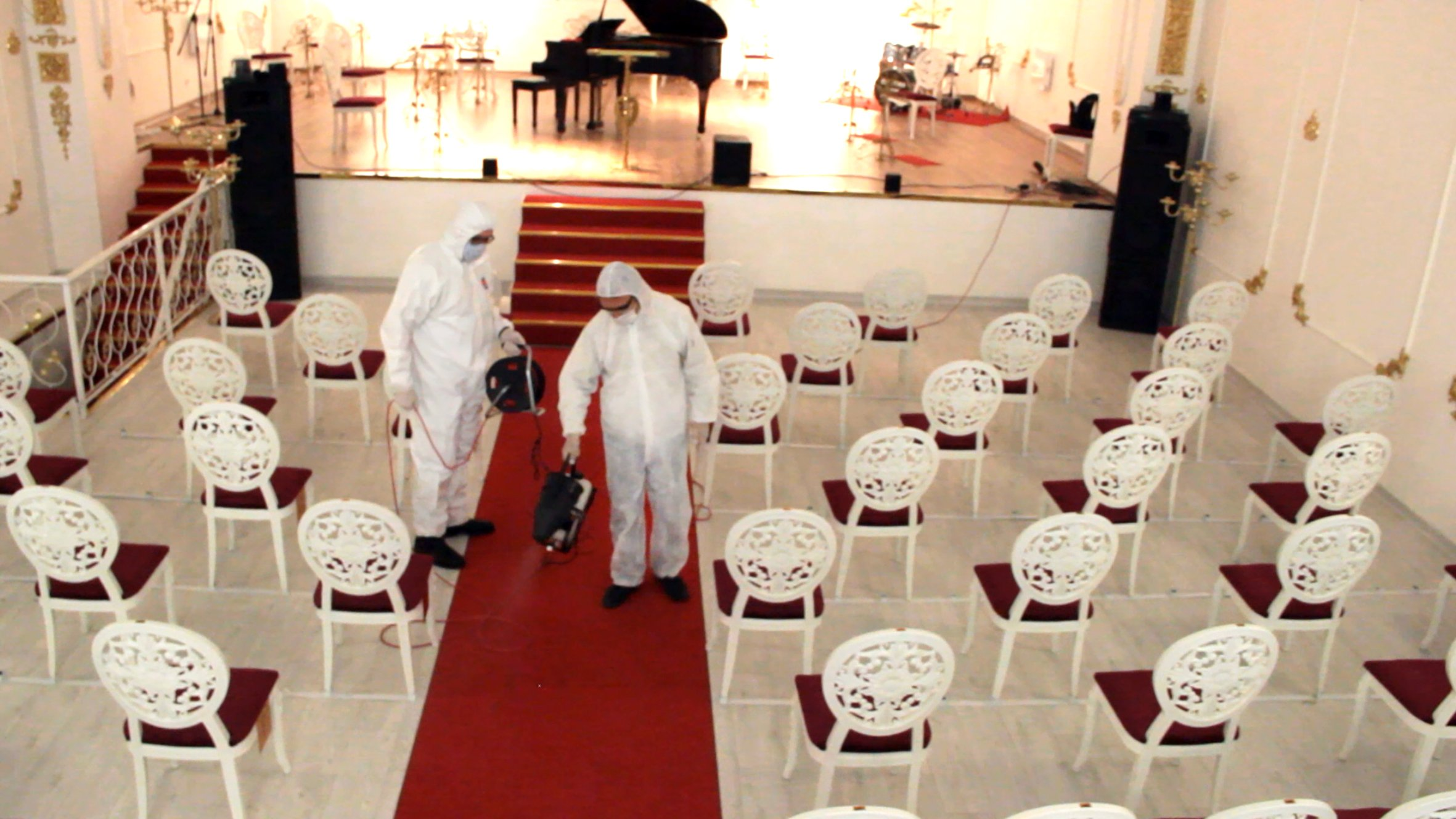 The seats of the concert hall were reduced from 350 to 100, Ankara, Turkey. (AA Photo)
