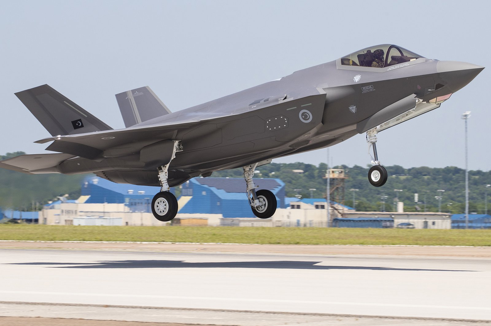 A Lockheed Martin photo shows the first flight of Turkey's F-35 jet in Fort Worth, Texas, U.S., May 2018.