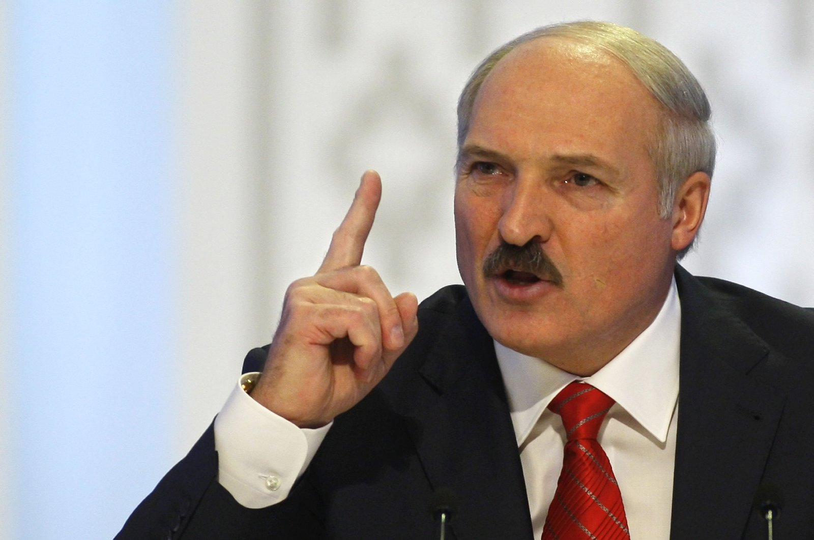 Belarusian President Alexander Lukashenko gestures prior to a news conference in the capital, Minsk, Belarus, Dec. 20, 2010. (AP Photo)