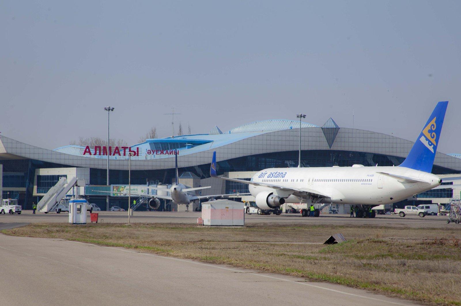 An aircraft is seen at Almaty Airport, Kazakhstan.