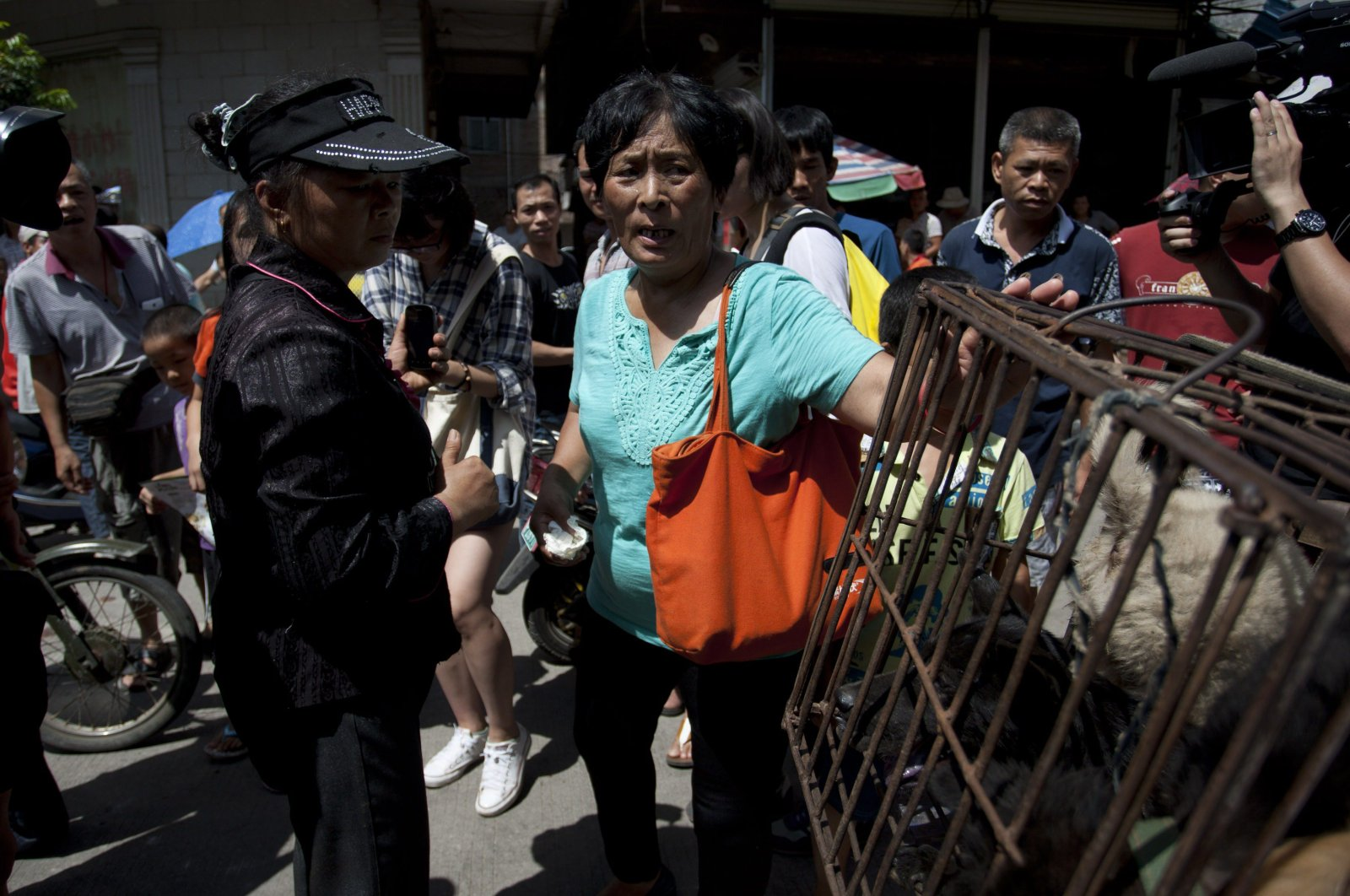 This picture shows animal-loving Yang Xiaoyun (C) going around buying some 100 dogs at a market in Yulin, in southern China's Guangxi province, June 20, 2015. (AFP Photo)