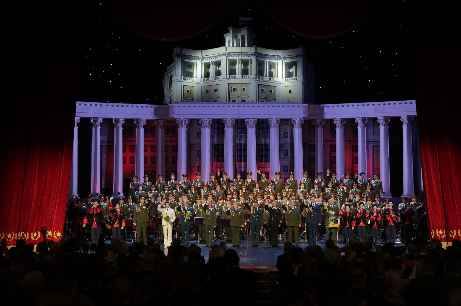 Members of the Alexandrov Ensemble take a bow during the curtain call after their performance in Moscow, Russia, Thursday, Feb. 16, 2017. (AP Photo)
