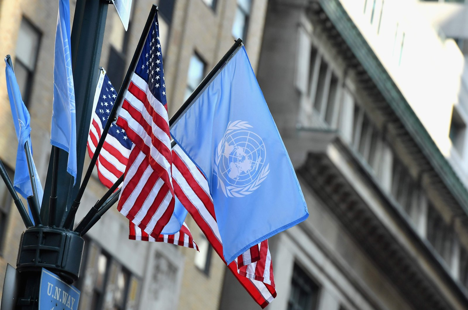 Flags of the United Nations and the United States are seen in New York City, Sept. 23, 2019. (AFP Photo)