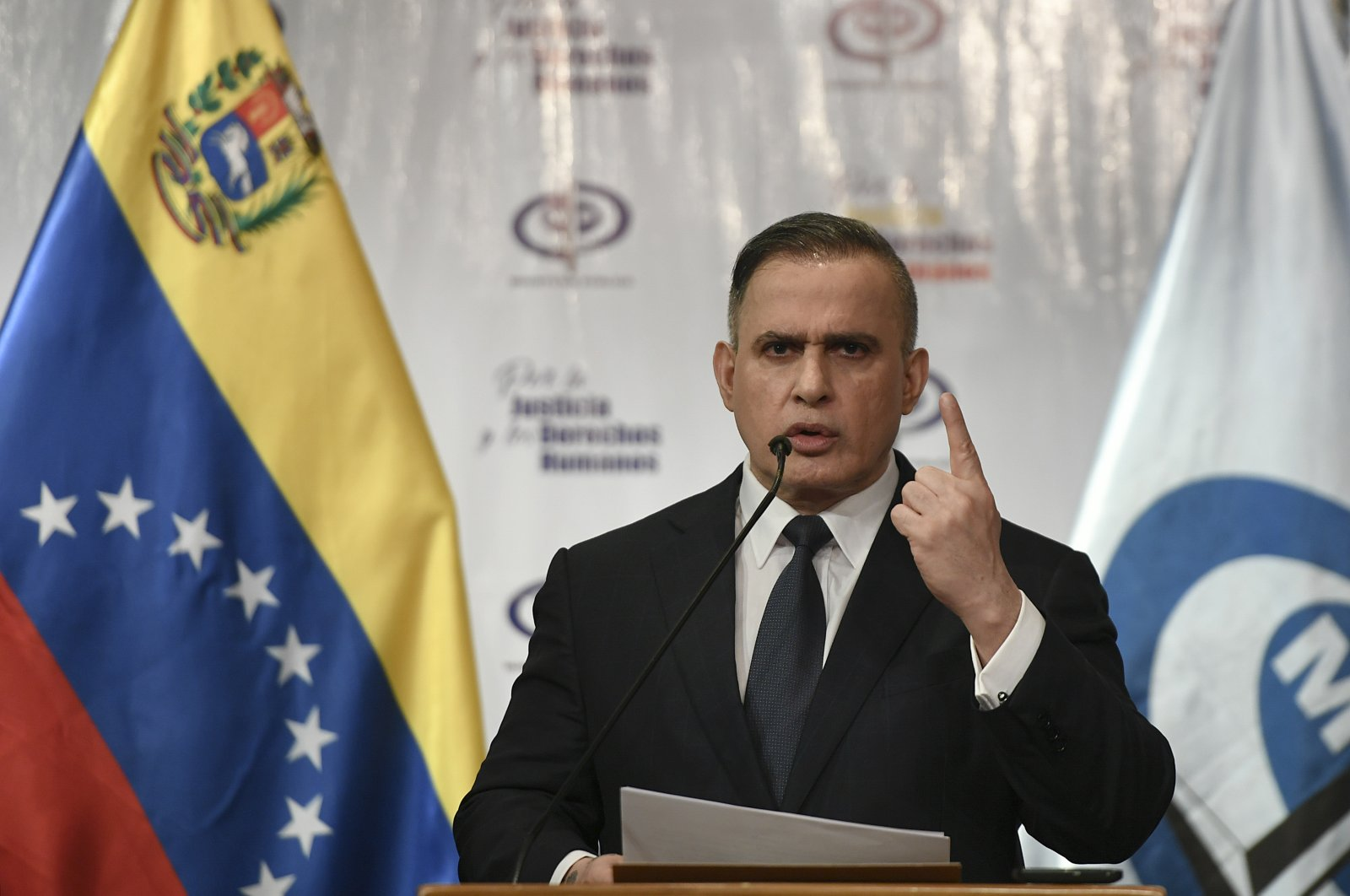 Venezuela's Attorney General Tarek William Saab gives a press conference regarding the alleged attempt to overthrow President Nicolás Maduro in Caracas, Venezuela, May 8, 2020. (AP Photo)
