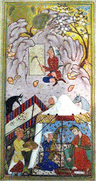 A work depicting Farhad and Shirin's story in the National Museum of Iran.