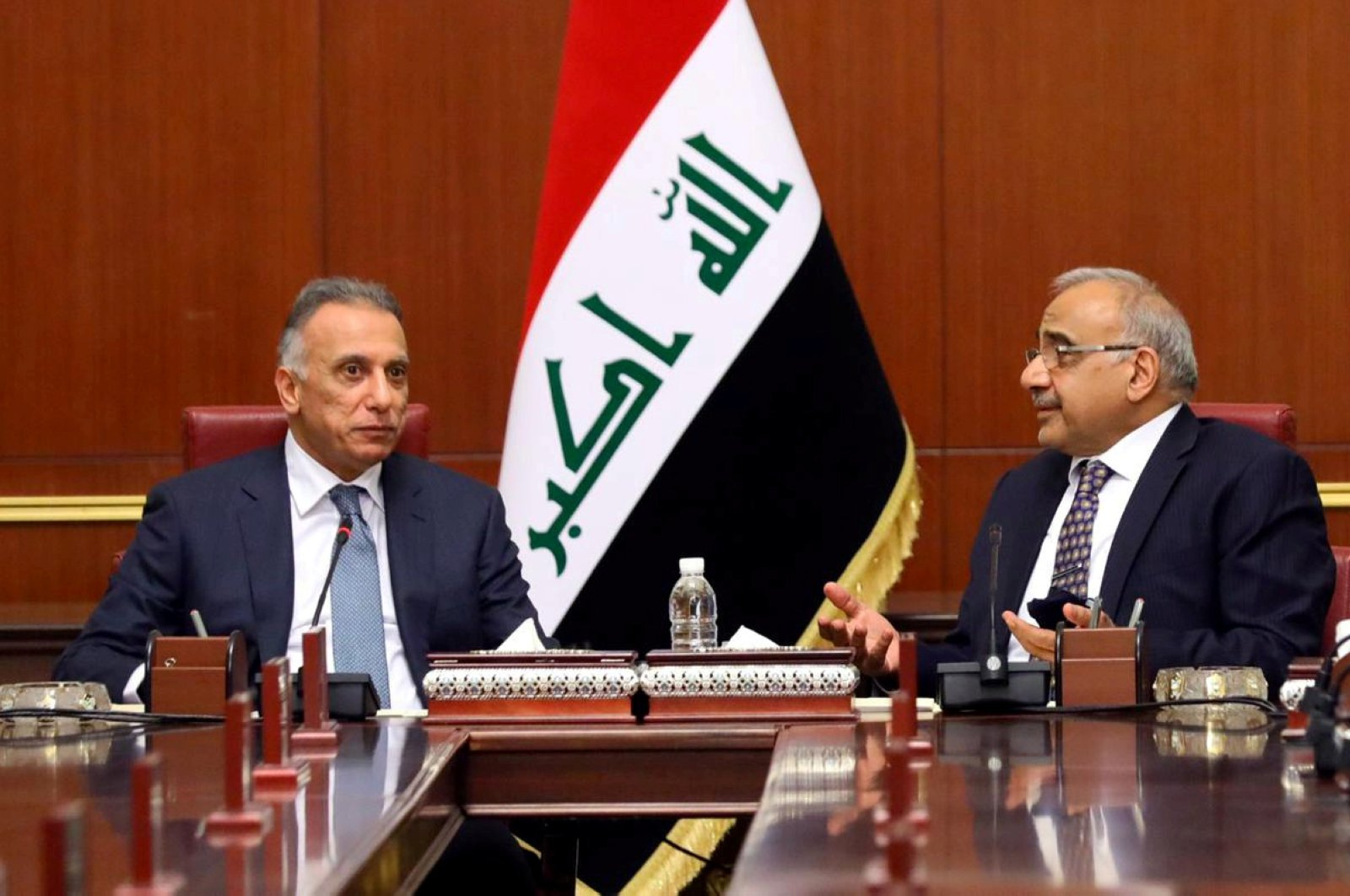 Iraq's new Prime Minister Mustafa al-Kadhimi meets with former Iraqi Prime Minister Adil Abdul-Mahdi in Baghdad, Iraq, May 7, 2020. (Reuters Photo)