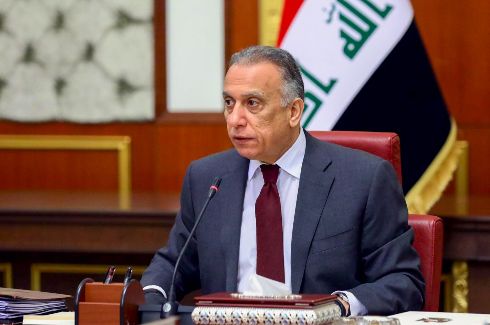 Iraqi Prime Minister Mustafa al-Kadhimi chairs the ministerial meeting of the new Iraqi cabinet, Baghdad, May 9, 2020. (AFP Photo)