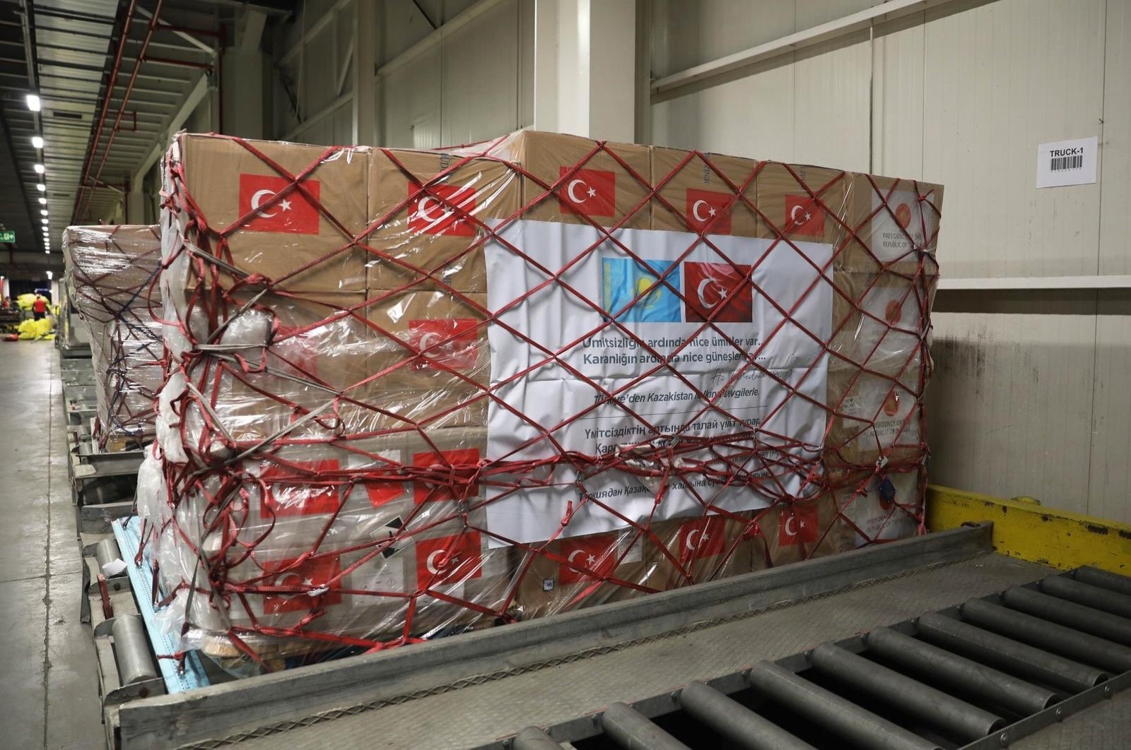 Turkey delivered medical aid equipment to Kazakhstan in order to support the global combat against the novel coronavirus pandemic, May 9, 2020. (İHA Photo)