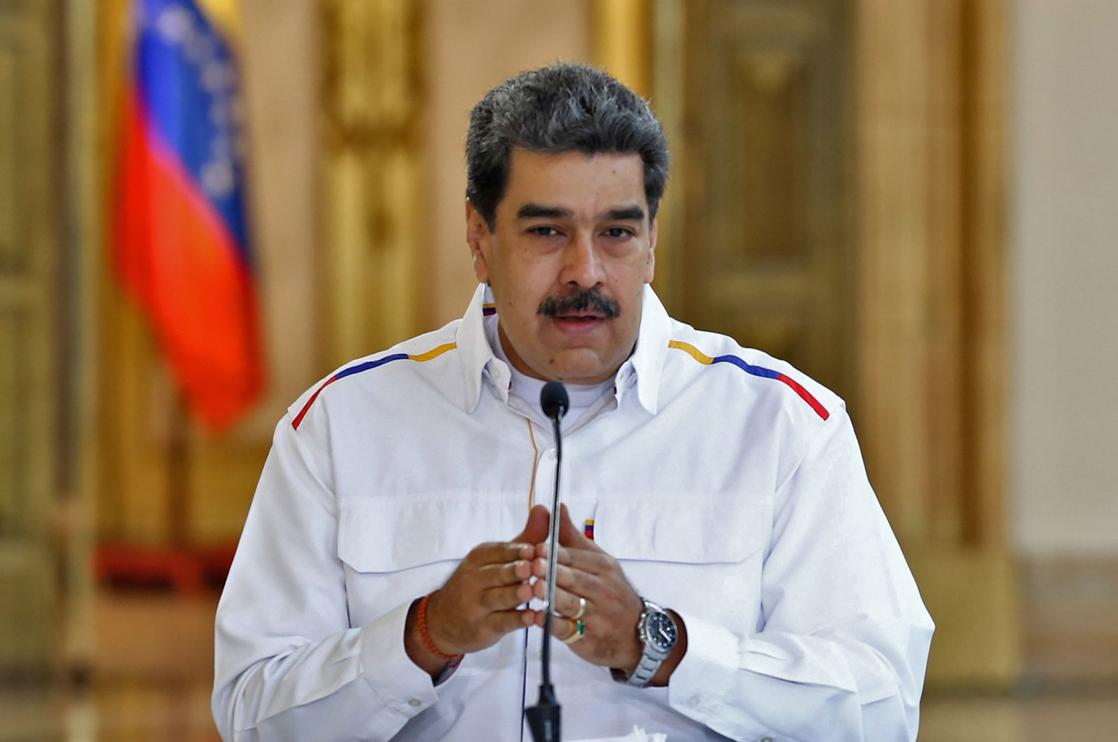 Venezuela's President Nicolas Maduro speaks during a televised message announcing new arrests related to an alleged failed bid to topple him, at Miraflores Presidential Palace, Caracas, May 9, 2020. (AFP Photo)