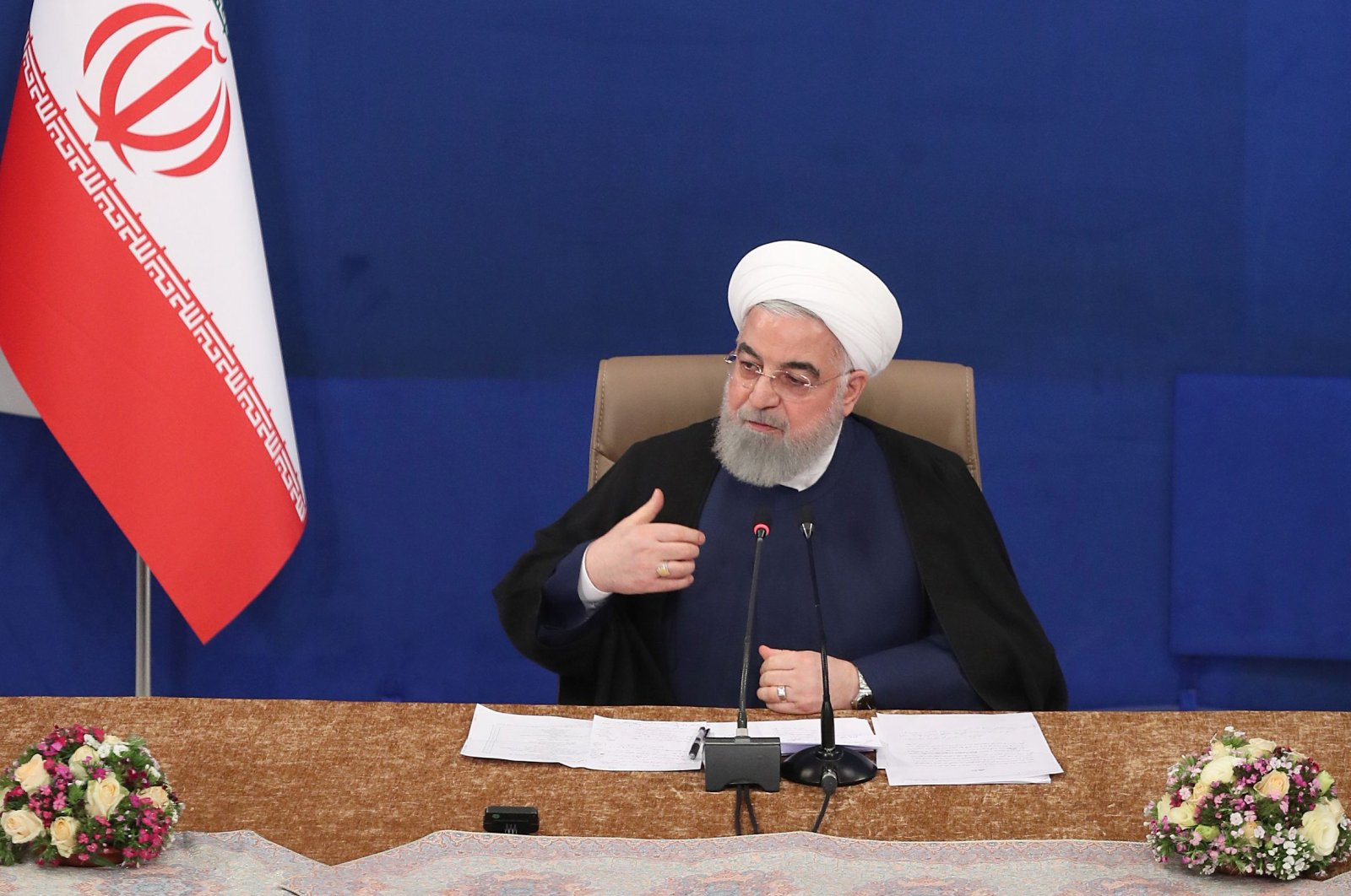 President Hassan Rouhani attends a cabinet session, Tehran, May 6, 2020. (AFP Photo)