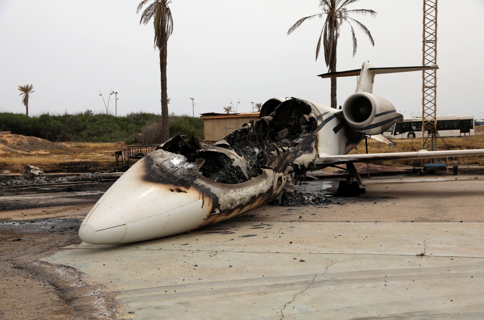 A passenger plane damaged by shelling is seen at Tripoli's Mitiga airport in Tripoli, Libya, May 10, 2020. (Reuters Photo)