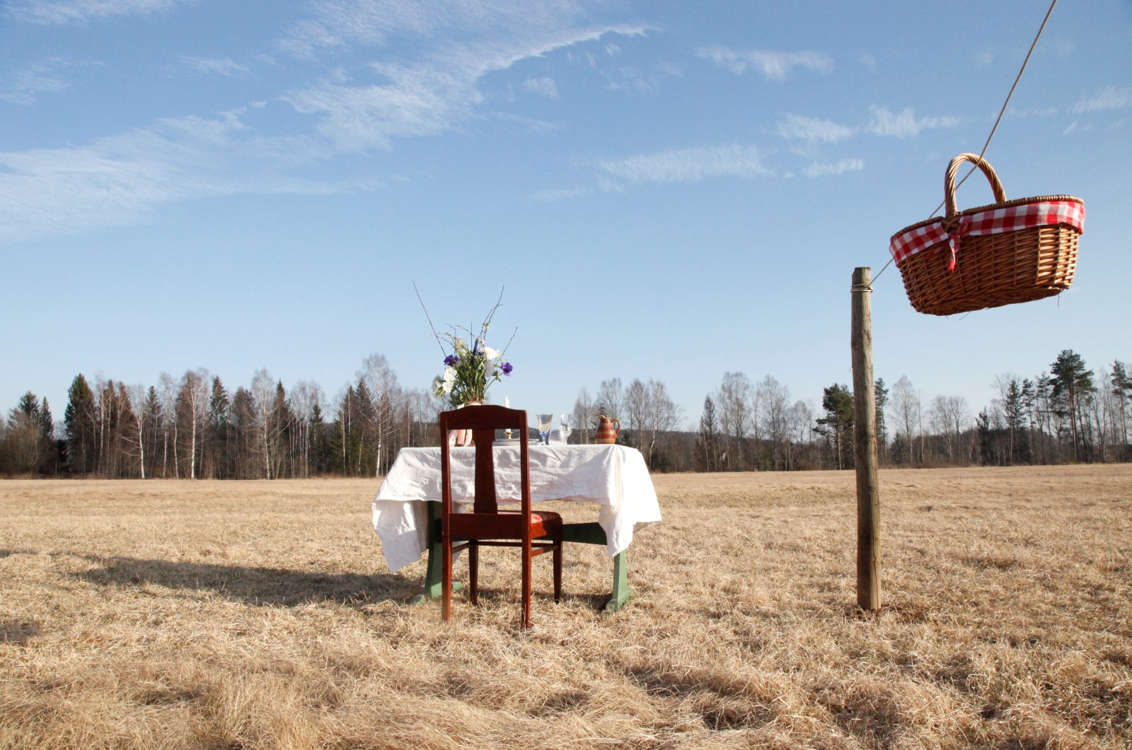 A Swedish couple has opened a COVID-19-safe pop-up restaurant in a meadow with one chair and one table in Umlautus, Ransater, Sweden, March 26, 2020. (Reuters Photo)