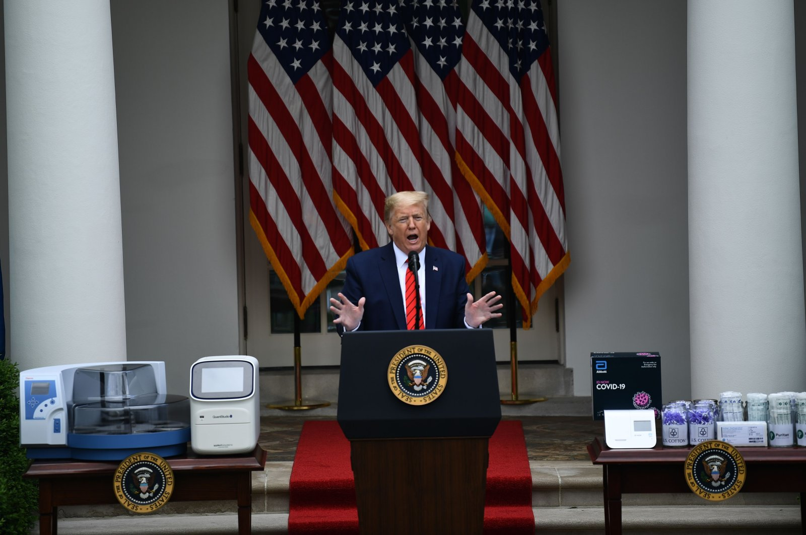 US President Donald Trump speaks during a news conference on the novel coronavirus, COVID-19, in the Rose Garden of the White House in Washington, DC on May 11, 2020. (AFP Photo)