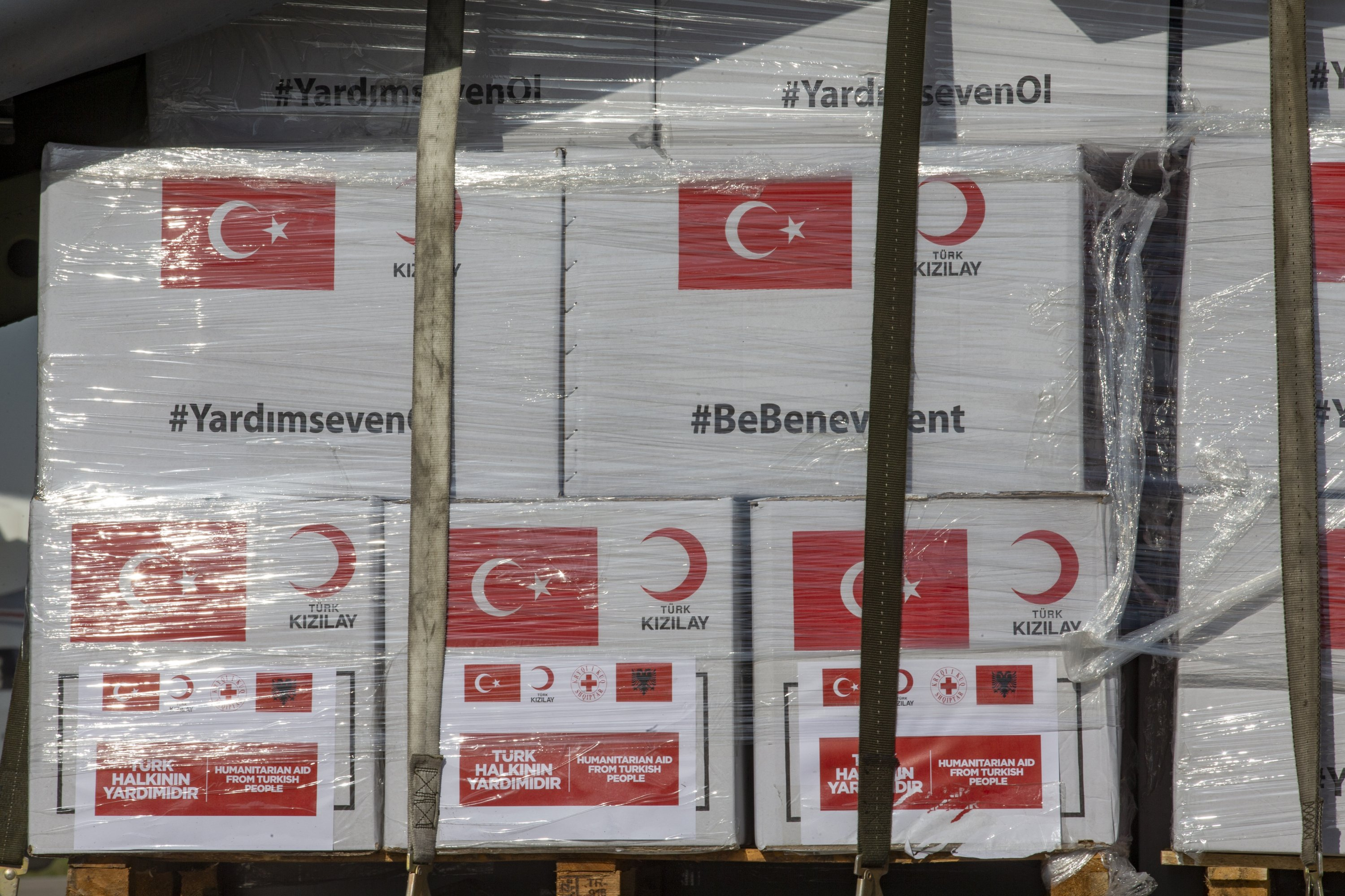 Turkey's aid packages primarily include medical masks, protective overalls and gloves, and disinfectants. (AA Photo)