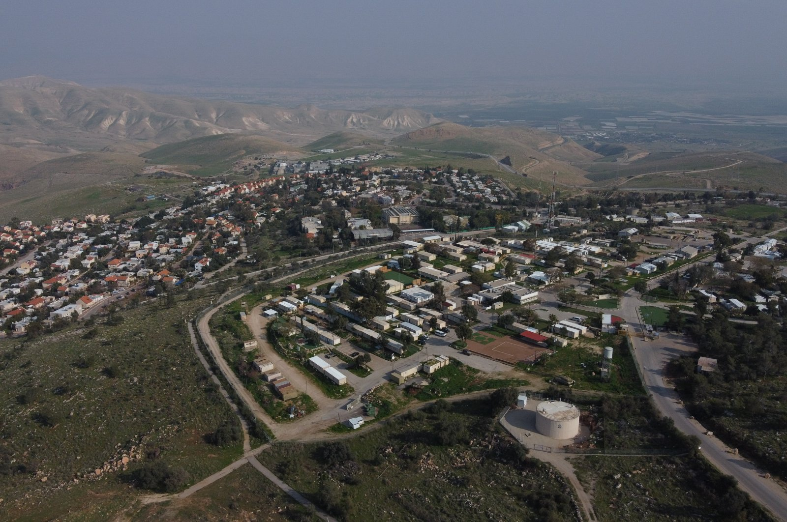 A view of the West Bank settlement of Ma'ale Efraim on the hills of the Jordan Valley, Feb. 18, 2020. (AP Photo)