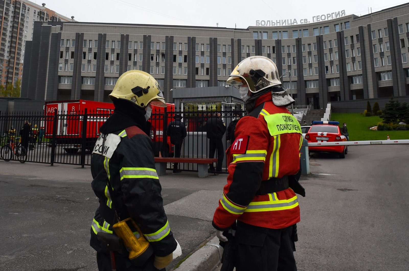 Firefighters work at the site of a fire at the Saint George hospital in Saint Petersburg, Russia, May 12, 2020. (AFP Photo)