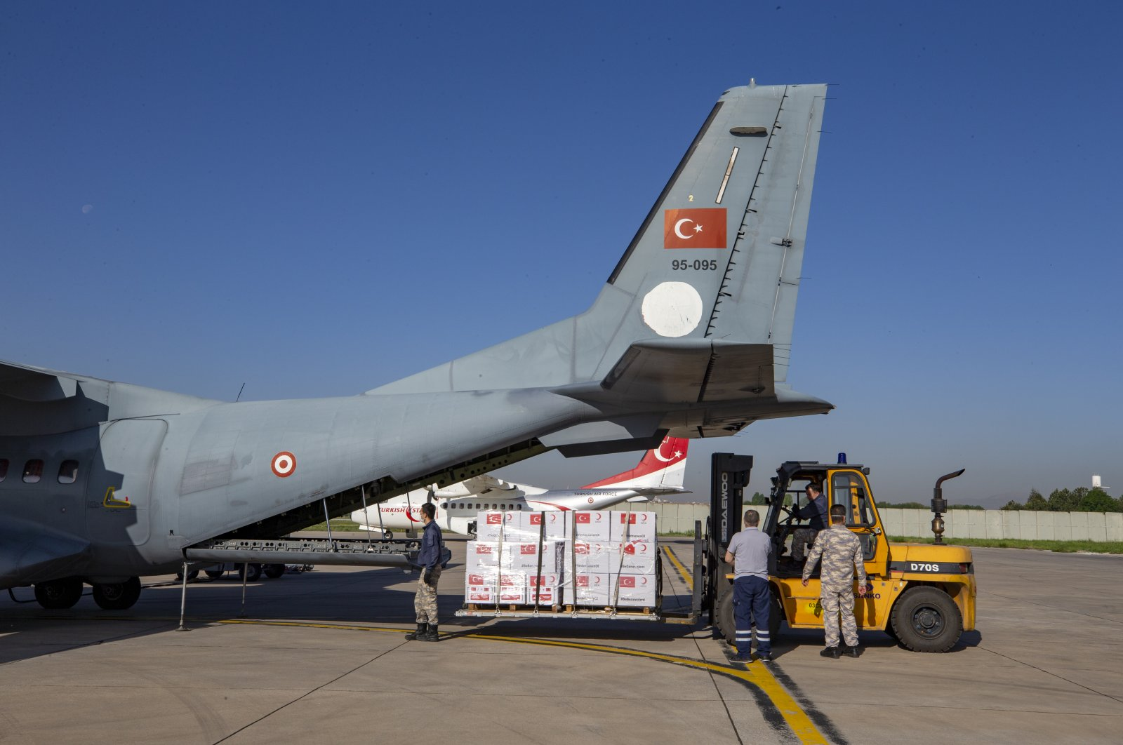 A Turkish military plane carrying medical supplies departed for North Macedonia and Albania to support those countries' fight against COVID-19, Etimesgut, Ankara, Turkey, May 12, 2020. (AA Photo)