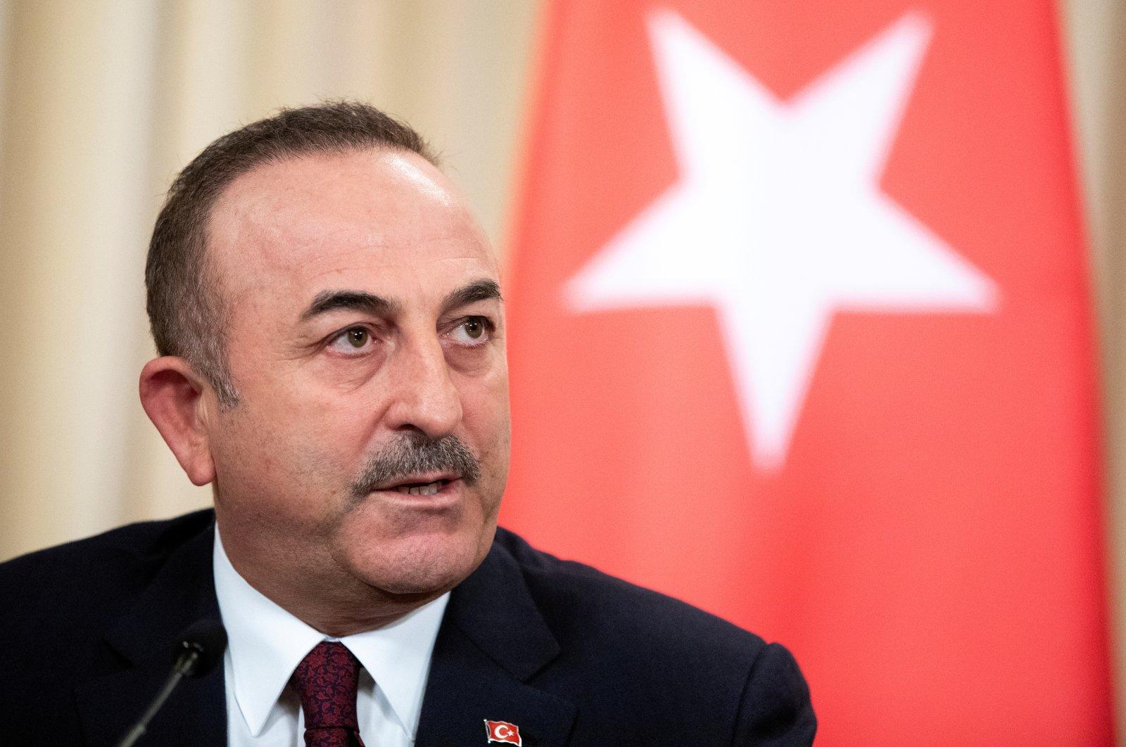 Foreign Minister Mevlüt Çavuşoğlu speaks during a joint news conference following talks with Russian Foreign Minister Sergei Lavrov in Moscow, Russia, January 13, 2020. (REUTERS Photo)