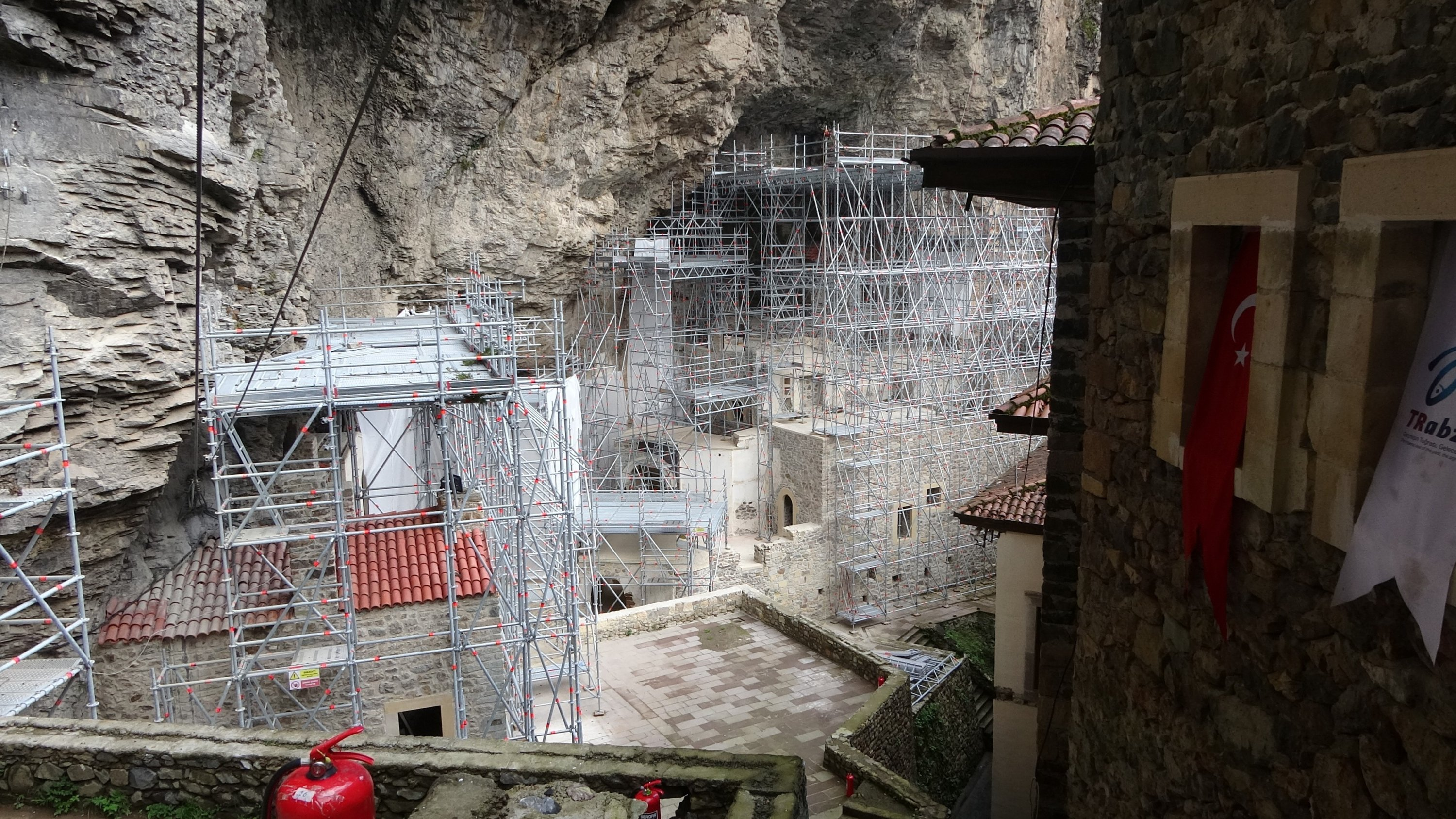 Protective scaffolds were installed at the monastery as part of the restoration work. (İHA Photo)