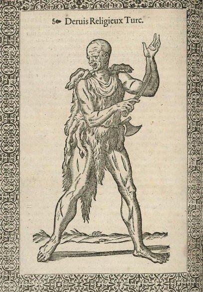 A picture of a marginal Qalandar dervish drawn by Nicolas De Nicolay. (Courtesy of Library of Congress)
