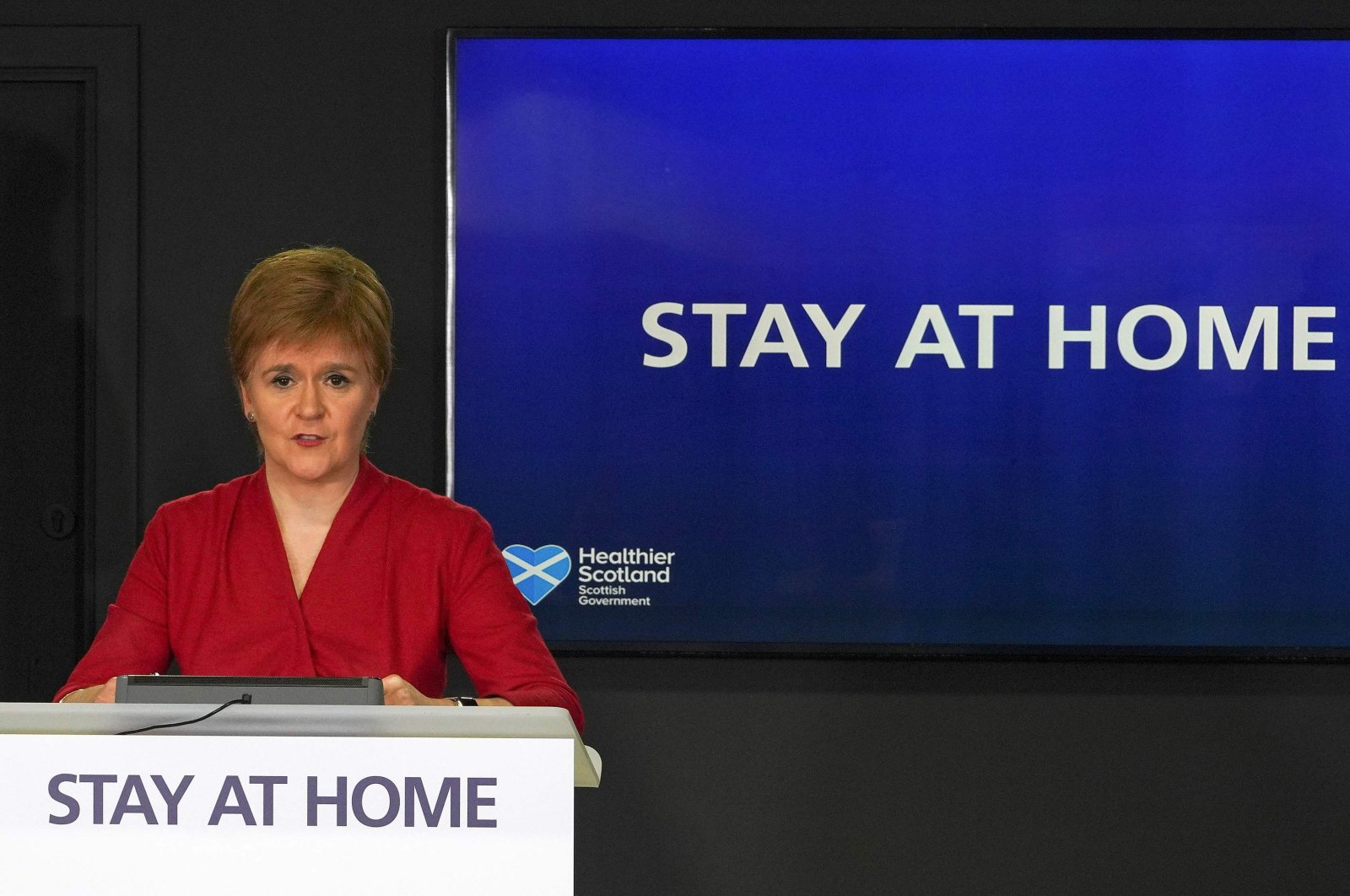 Scotland's first minister, Nicola Sturgeon, speaks during the Scottish government's daily briefing on the novel coronavirus COVID-19 outbreak at St. Andrew's House, Edinburgh, May 12, 2020. (AFP Photo)