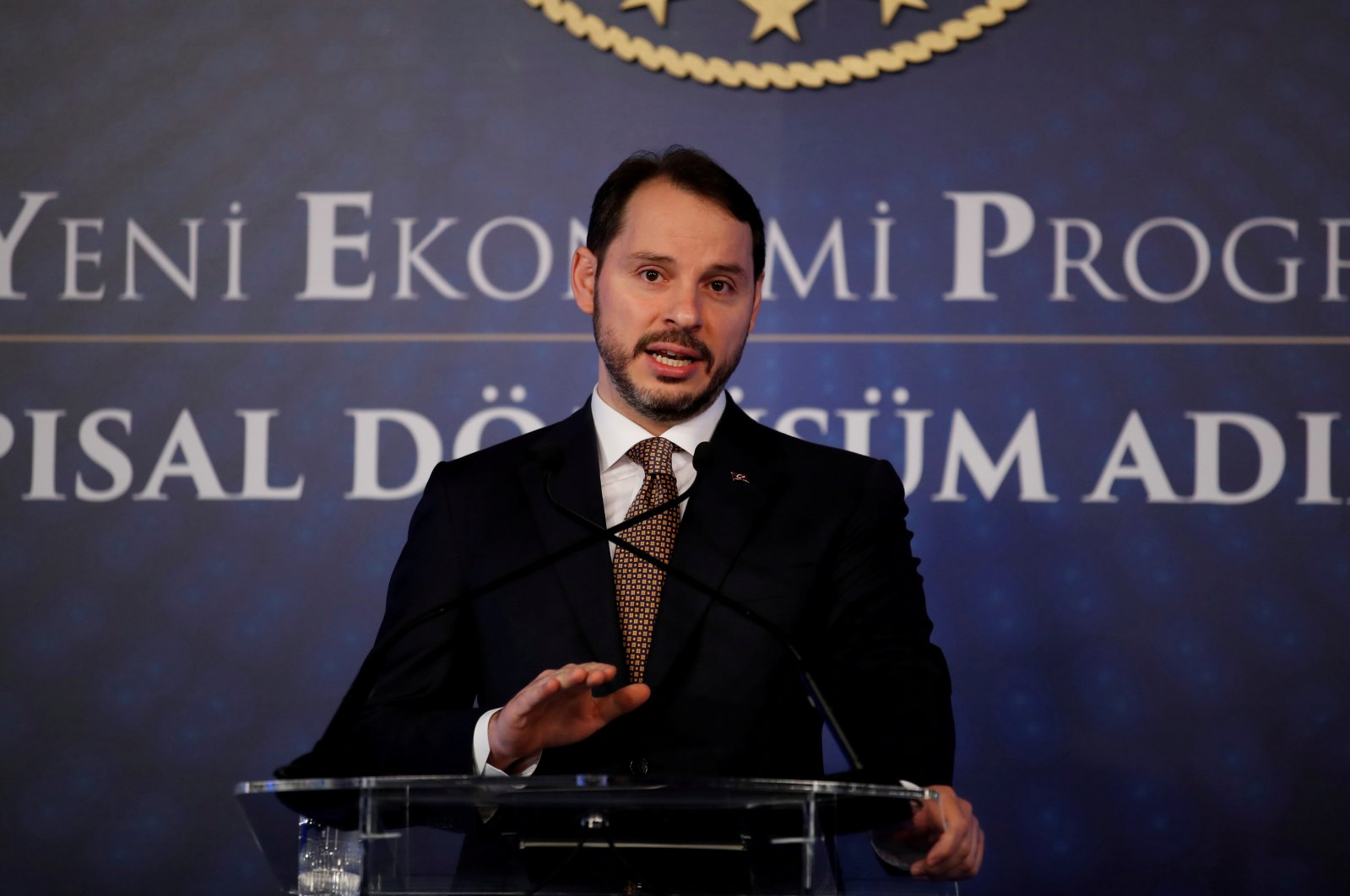 Treasury and Finance Minister Berat Albayrak attends a news conference in Istanbul, Turkey, April 10, 2019. (Reuters Photo)